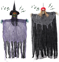 """HOLYFUN 2 Pack Halloween Hanging Decorations, 40"""" Witch and Skeleton Pir... - $39.84"""