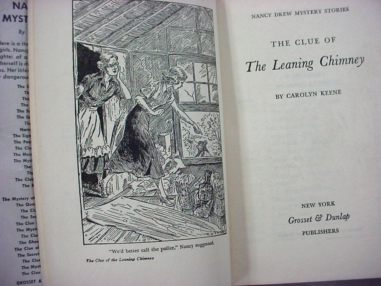 Nancy Drew The Clue of the Leaning Chimney 1953B-9 hcdj Carolyn Keene no.26