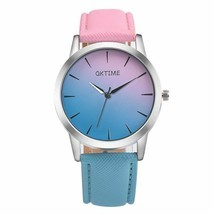 Fashion Leather Quartz Watches Women Blocking Color Ladies Bracelet Wris... - $9.99