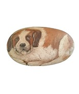 VTG 80's Saint Bernard Artist Hand Painted Pet Rock Paperweight Dog Sgnd... - $74.25