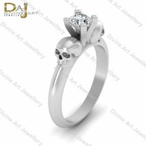 1 Carat Solitaire Diamond Skull Engagement Ring Womens White Gold Skull ... - €594,35 EUR