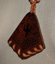 VTG Wood Bead Cactus Southwestern Pendant Necklace - $19.80