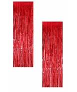2pk Red CHRISTMAS Tinsel Foil Curtains Metallic Party Door Photo Backdrop Decor - €6,65 EUR