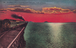 DB Postcard A809 ca1910 Overland Limited Crossing Great Salt Lake Utah S... - $9.90
