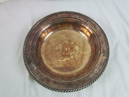 """Tarnished Silver Silver Plated Rim Pattern Bowl 11.5"""" Round 2"""" Tall - $23.74"""