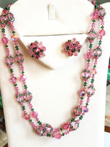Vendome Pink and Green Crystal Beaded Necklace and Earring Set, Vintage, Signed - $155.00