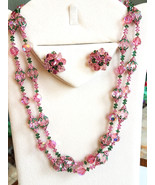 Vendome Pink and Green Crystal Beaded Necklace and Earring Set, Vintage,... - $155.00