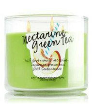 Bath & Body Works Nectarine Green Tea Three Wick 14.5 Ounces Scented Candle - $22.49