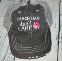 Beach Hair Don't Care Womens Distressed Trucker Hat with Flip Flops assor Colors - $18.00