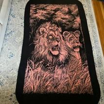 "Vintage San Marcos Blanket Lion and Lioness Reversible Pink Black 85x50"" - $121.54"