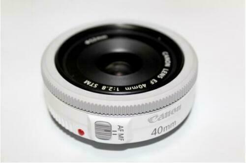 Canon EF 40mm F/2.8 STM Pancake Lens, White, Bulk Package