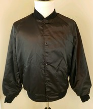 West Ark Size Large Black Vintage Satin Westark Bowling Snap Button Jack... - $28.49
