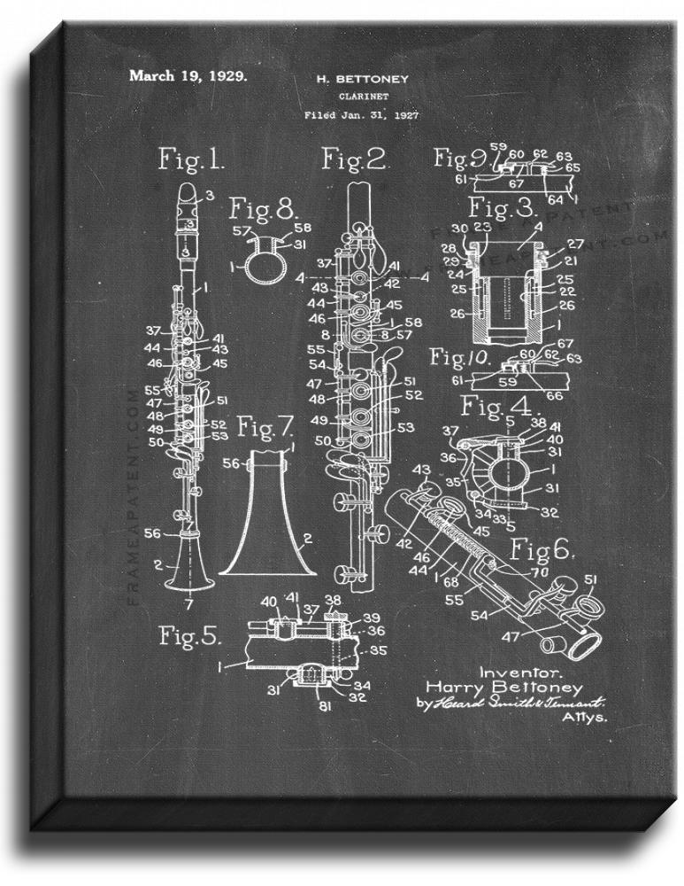 Primary image for Clarinet Patent Print Chalkboard on Canvas