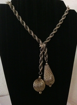 Vintage Two Tone Chunky Dangle Lariet Necklace - $24.00