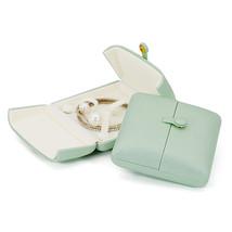 Small Faux Leather Wedding Jewelry Box Organizer- Wedding Jewelry - Sage green image 3
