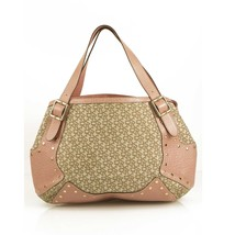 Donna Karan DKNY Signature Beige Canvas Pink Leather Studded Hobo Should... - $197.01