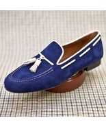 Handmade Blue Suede Moccasin Shoes, Slipper Tussle Leather Party Dress S... - $169.97