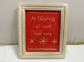 "Embroidered ""At Christmas All Roads Lead Home"" Home Wall Decor"