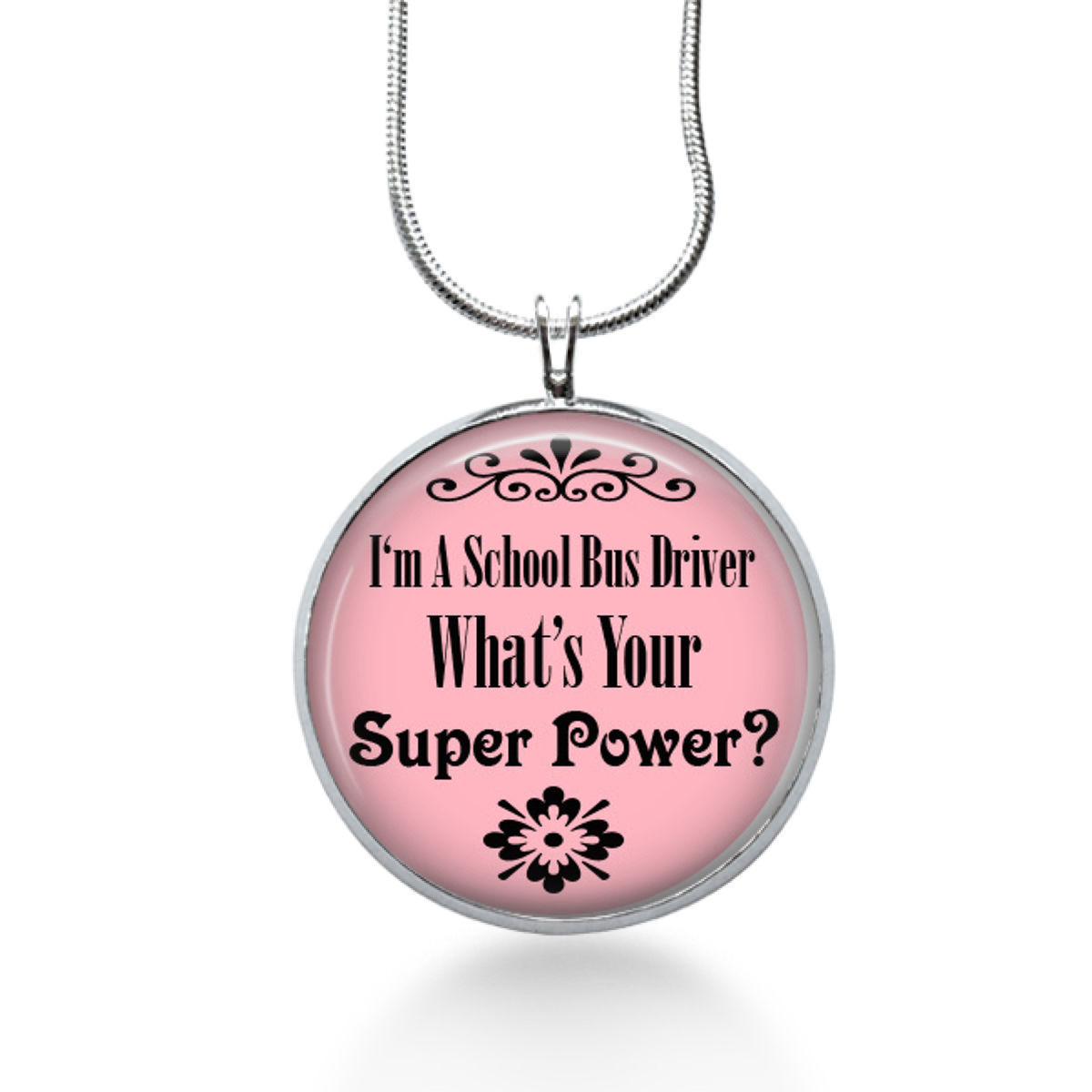 Primary image for Bus Driver Necklace, round necklace, bus driver gift, school bus driver, jewelry