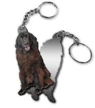 MIRRORED ACRYLIC NEWFOUNDLAND KEYCHAIN DOG KEYRING Made in USA KEY CHAIN... - $5.98