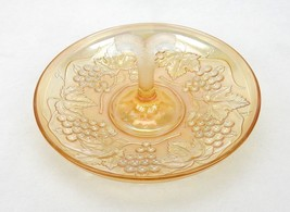 "Imperial Glass Amber Grape Carnival Glass 9"" Fruit Tray with Frosted Handle - $24.45"