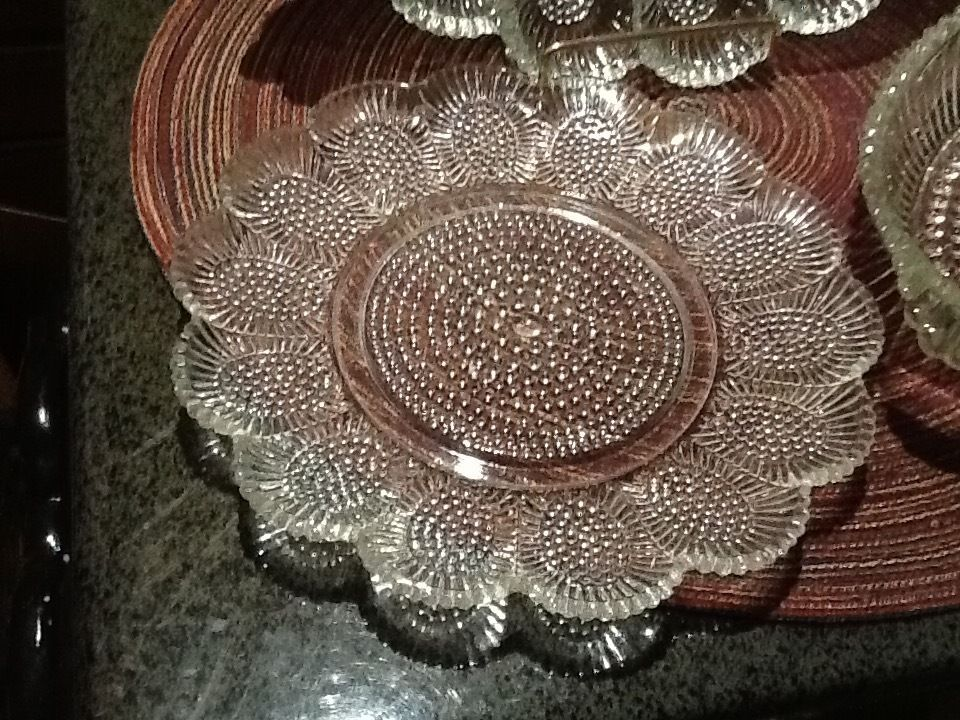 Hobnail Egg/Relish Platter w/Relish Plate & Boat Indiana Glass Co