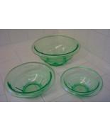 Hazel Atlas RESTWELL green depression nesting set 3 plus one 2-handled f... - $35.00