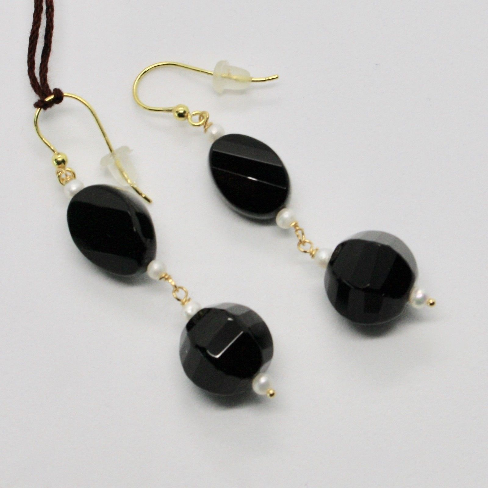 YELLOW GOLD EARRINGS 18KT 750 ONYX NATURAL BLACK MINI PEARLS OF WATER DOLCE