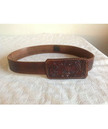 Authentic David Galan Vintage Leather Belt Hand Crafted Bold Floral Bucl... - $29.69