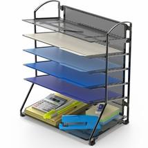 Desk Wall Mount Letter 6 Tray Office Organize Paper Holder Sorter Storag... - $39.46