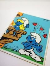 Playskool 1982 Smurf's Romeo Juliette 12 Pc Wooden Puzzle 325-6 12 Pieces Peyo  - $10.35