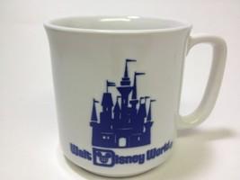 VTG Walt Disney World Coffee Cup Mug Cobalt Blue Japan Embossed Castle Souvenir - $6.64