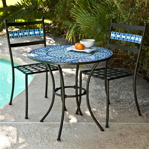 3 piece black metal patio bistro set with terra cotta tiles patio garden furniture sets. Black Bedroom Furniture Sets. Home Design Ideas