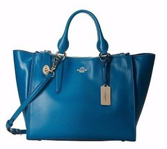 NWT COACH Smooth Leather Crosby Carryall 33545 LITEA Light Gold/Teal MSR... - $315.27