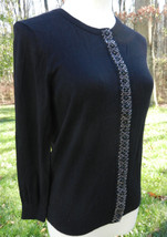 ELLEN TRACY Black LS Cardigan Sweater with Beaded Button Band Down Front... - $37.39