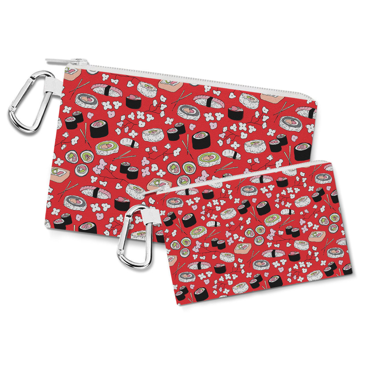 Sushi Cherry Blossom Canvas Zip Pouch