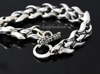 Mens Sterling Silver Bracelet Handcrafted Heavy Chain Warrior Rider Hip Hop b19 image 3