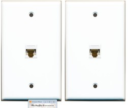 (2 Pack Lot)  RiteAV 1 Port Cat6 Rj45 Ethernet  Network Wall Plate White... - $18.68
