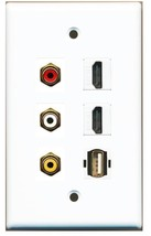 COMPOSITE RED WHITE YELLOW 2 HDMI USB 2.0 A/A WALL PLATE FEMALE COUPLER ... - $24.30