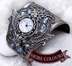 Silver Wings Watch cuff Aquamarine Crystal women's Watch bracelet Gothic... - $185.00