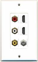 RiteAV 2 HDMI White COAX RCA Composite Wall Plate White - $30.83
