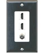RiteAV 2 HDMI White COAX Wall Plate Stainless Steel / White - $16.81