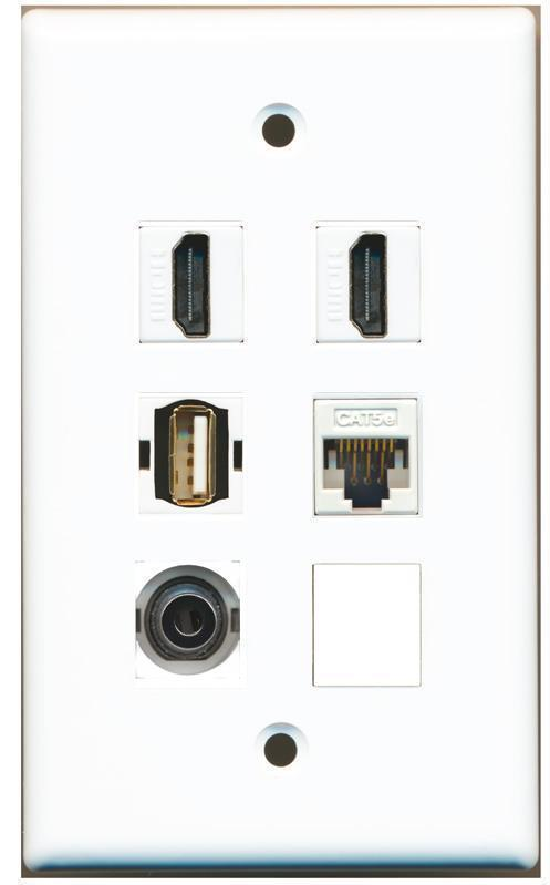 Primary image for RiteAV 2 Hdmi 3.5MM CAT5E Usb A-A Wall Plate White