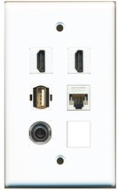 RiteAV 2 Hdmi 3.5MM CAT5E Usb A-A Wall Plate White - $25.22