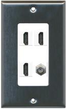 RiteAV 3 HDMI White COAX Wall Plate White - $23.35