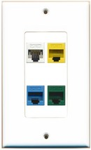 Rite Av 4 Cat5 E Cat5 E Blue Cat5 E Green Cat5 E Yellow White Wall Plate White - $18.68