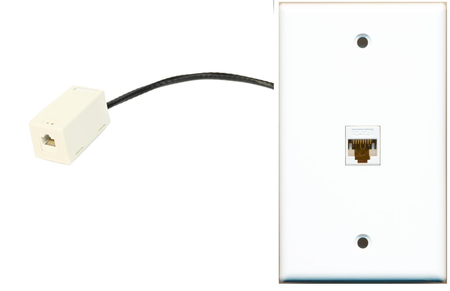 Primary image for RiteAV Cat6 Rj45 Ethernet Wall Plate Flat White with Extension Dongle (Pigtail)