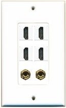 Riteav 4 HDMI - 2 BANANA (FOR 1 X SPEAKER) Wall Plate Decorative White - $15.87