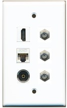 Riteav Hdmi CAT5E Ethernet and 3 COAX 1 Toslink Optical Wall Plate White - $24.62