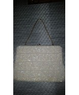 Old Vintage Off White Sequin & Beaded Wedding Purse Evening Bag - $24.99